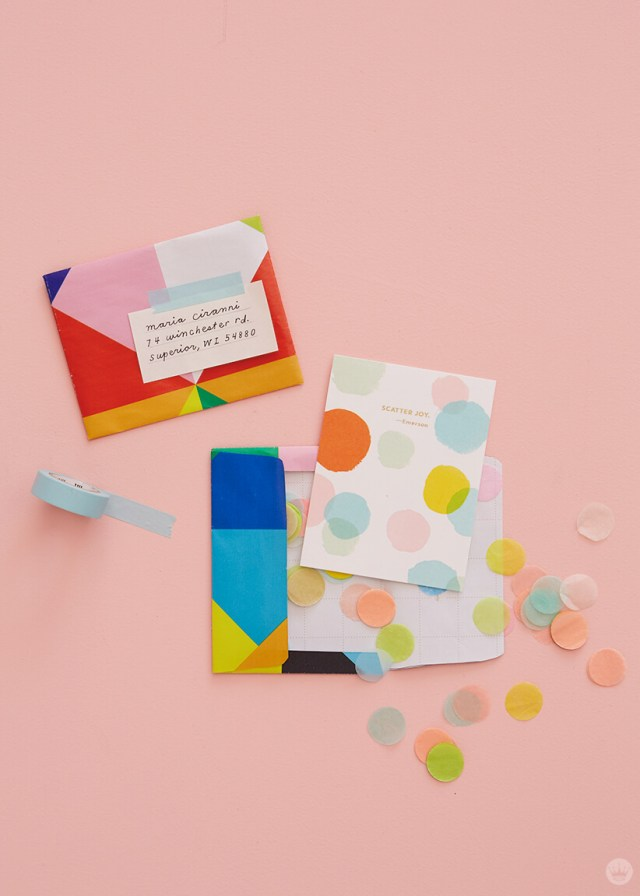 DIY snail mail envelopes with cards and confetti