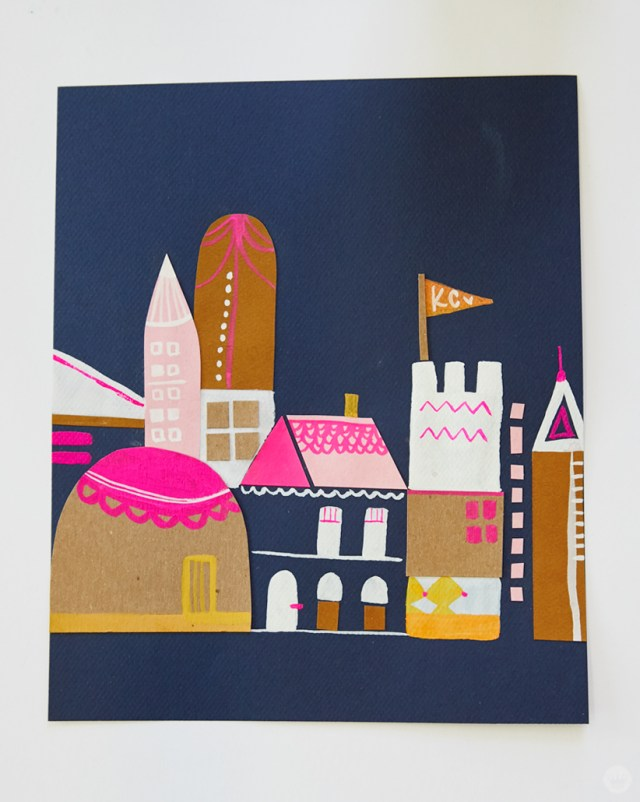Gouache Workshop: Collaged building structures detailed with gouache