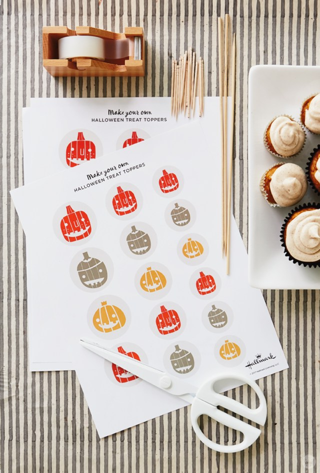 Free Halloween cupcake topper supplies: Tape, toothpicks and skewers, scissors, printable toppers, and cupcakes.