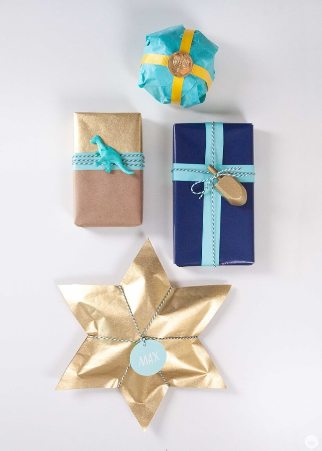 Hanukkah Gift Wrap ideas | thinkmakeshareblog.com