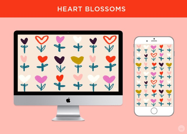 Heart Blossoms: free February 2018 digital wallpapers