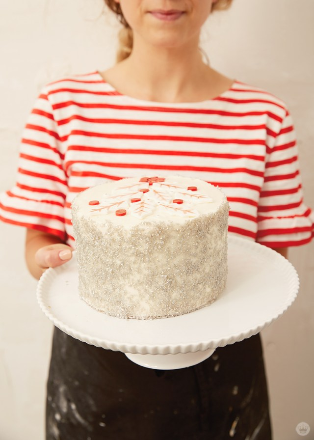 Holiday cake ideas: Layer cake with fondant holly and sugar decor
