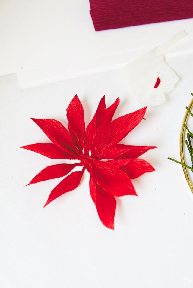 Preparing petals for a DIY paper poinsettia