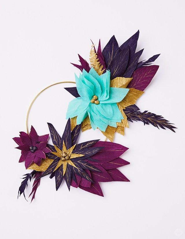 DIY crepe paper poinsettia wreath