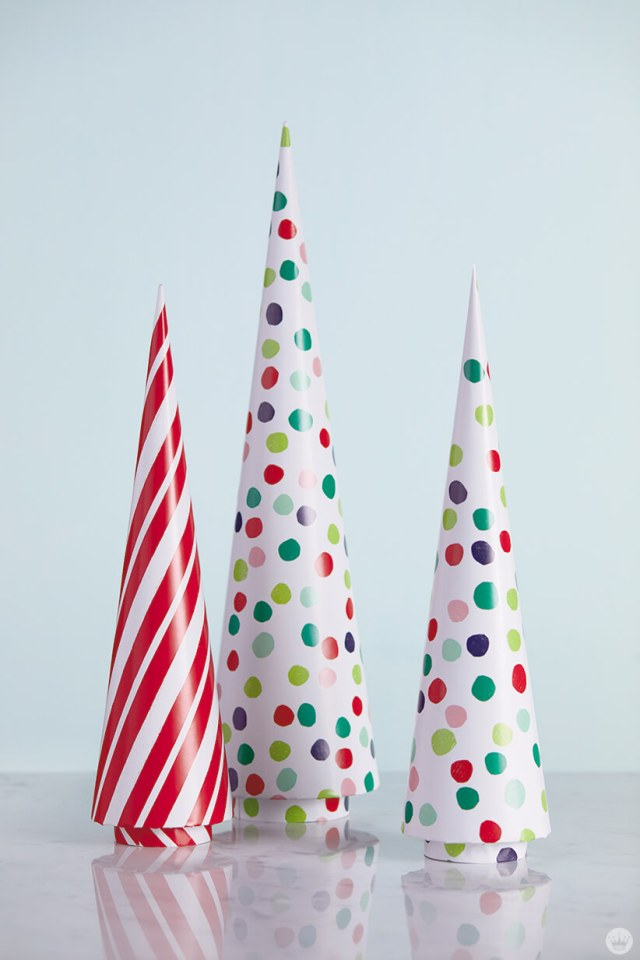 Gift wrap-covered cardboard cones | thinkmakeshareblog.com