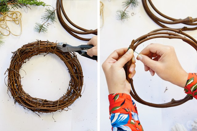 Modern Christmas wreath ideas: How to make a grapevine wreath