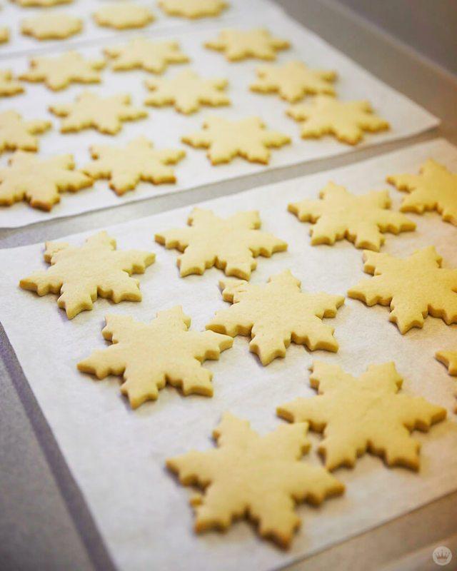 Just-baked snowflake cookies