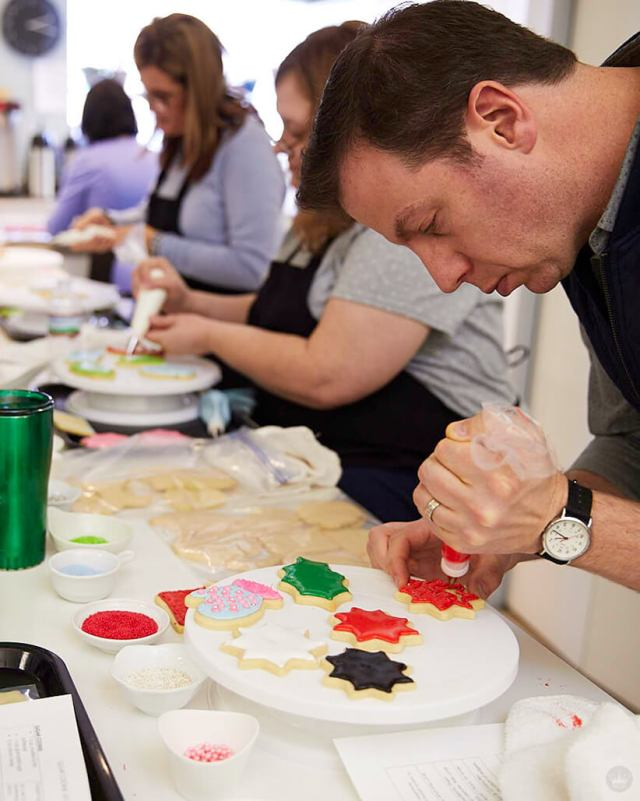 Decorating sugar cookies with royal icing