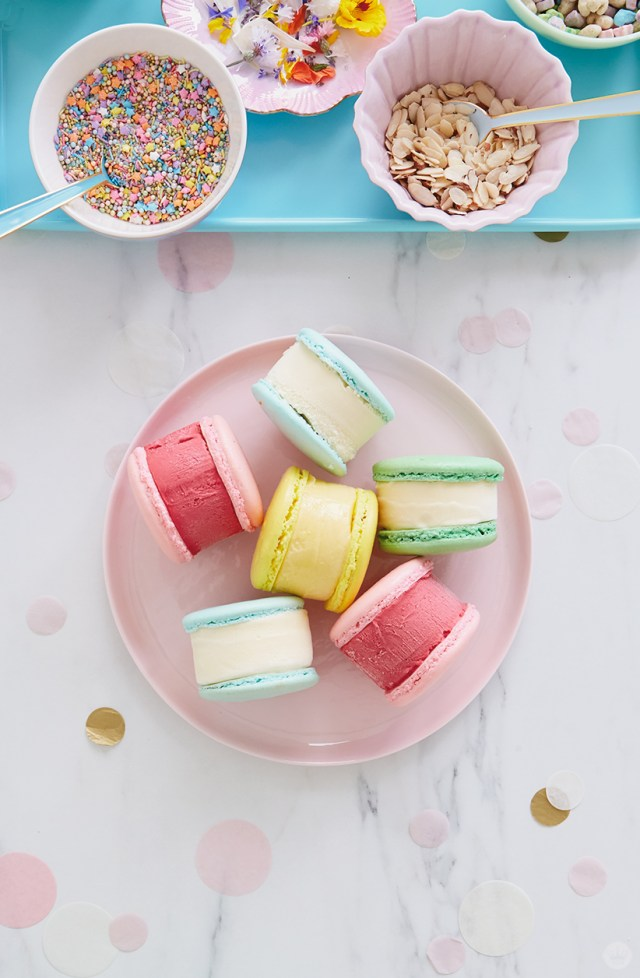 Ice cream sandwiches and toppings