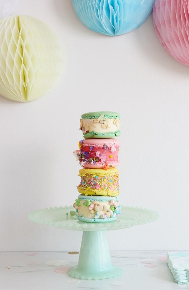 Ice cream sandwiches decorated four ways