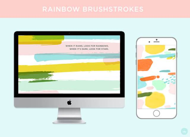 FREE JULY 2018 DIGITAL WALLPAPERS rainbow brushstroke art