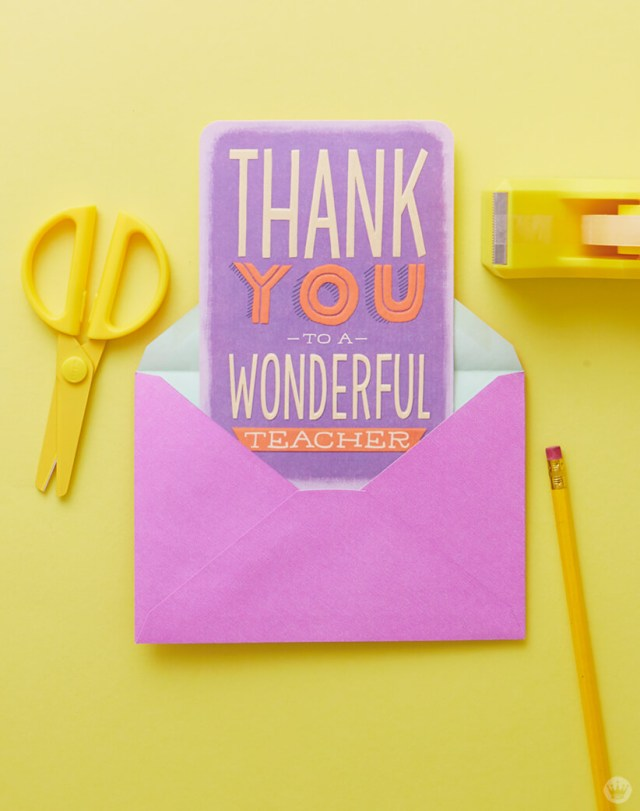 Just Because Cards: Greeting card to thank a teacher