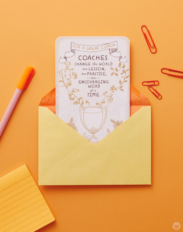 Just Because Cards: Greeting card for a great coach