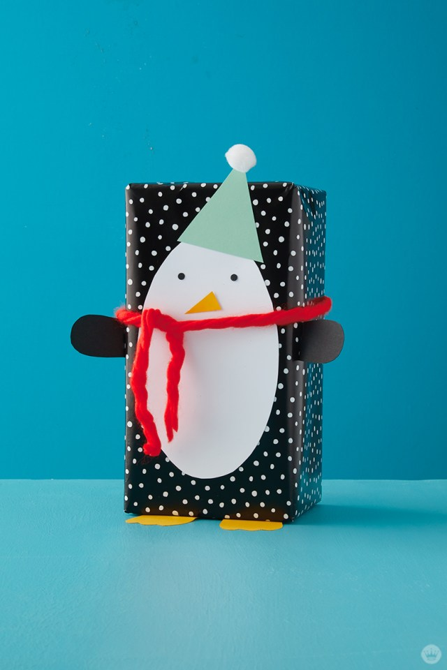 Kids Holiday gift wrap Ideas: Penguin wrap