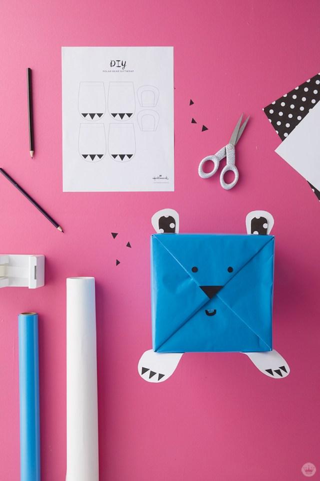 Kids Holiday gift wrap Ideas: Supplies for Polar Bear wrap