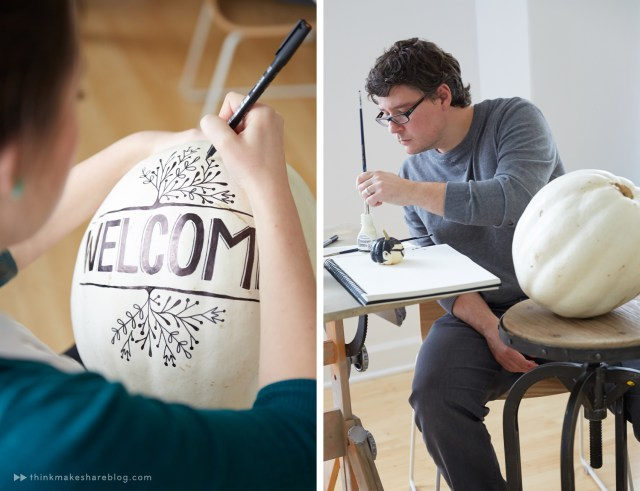 Drawing on white pumpkins with black markers.