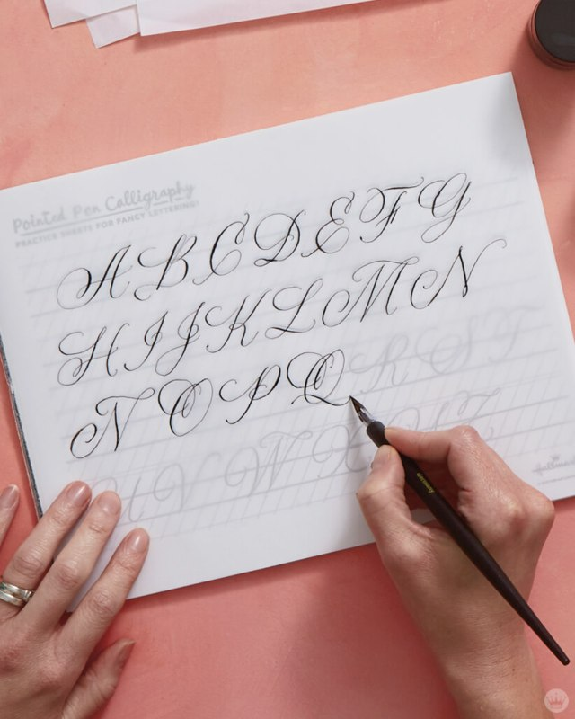 Calligraphy tips: Trace letterforms to practice line weights with a pointed pen