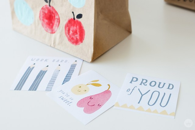 Brown bags with doodles and free printable lunch box notes