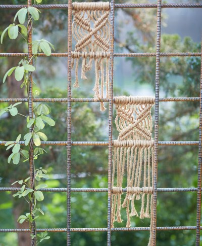 Andy N. shows how he creates macrame pieces on a trellis in his garden.