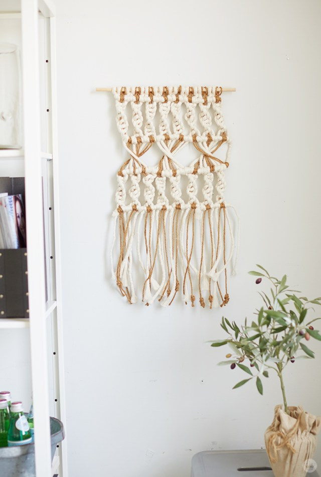 Macramé yard art with examples of wall hangings with white rope and jute