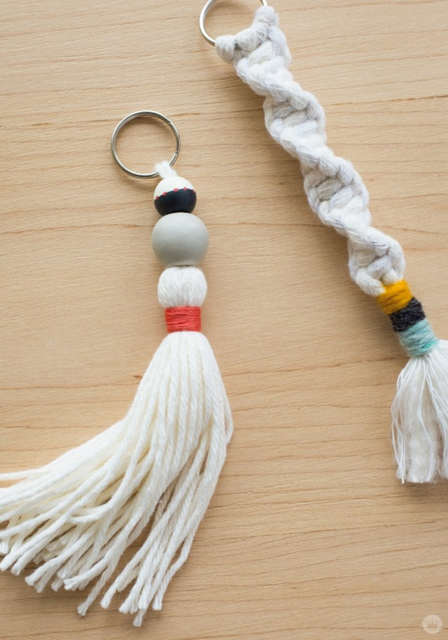 Beaded tassel and macramé keychain