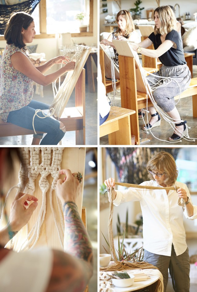 macramé class participants at work.