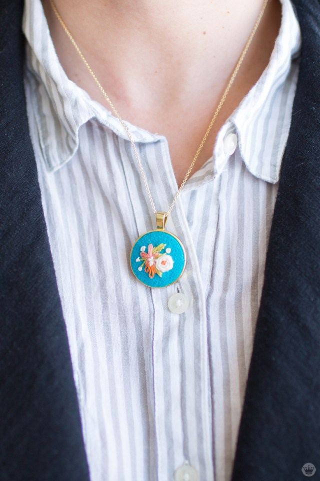 Handmade gift exchange: Embroidered necklace by Lisa H.