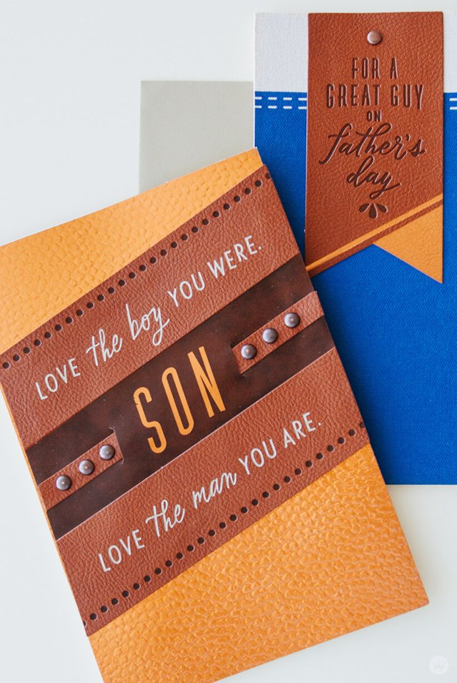 Close up of two detailed cards from Hallmark's Man Made Father's Day collection