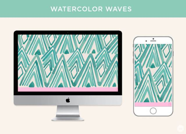 Free March 2019 digital wallpapers: Watercolor Waves