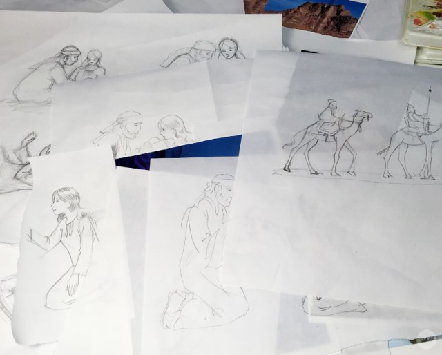 Hallmark Artist Matt K.'s preliminary illustrations for his Nativity collection of cards and gifts