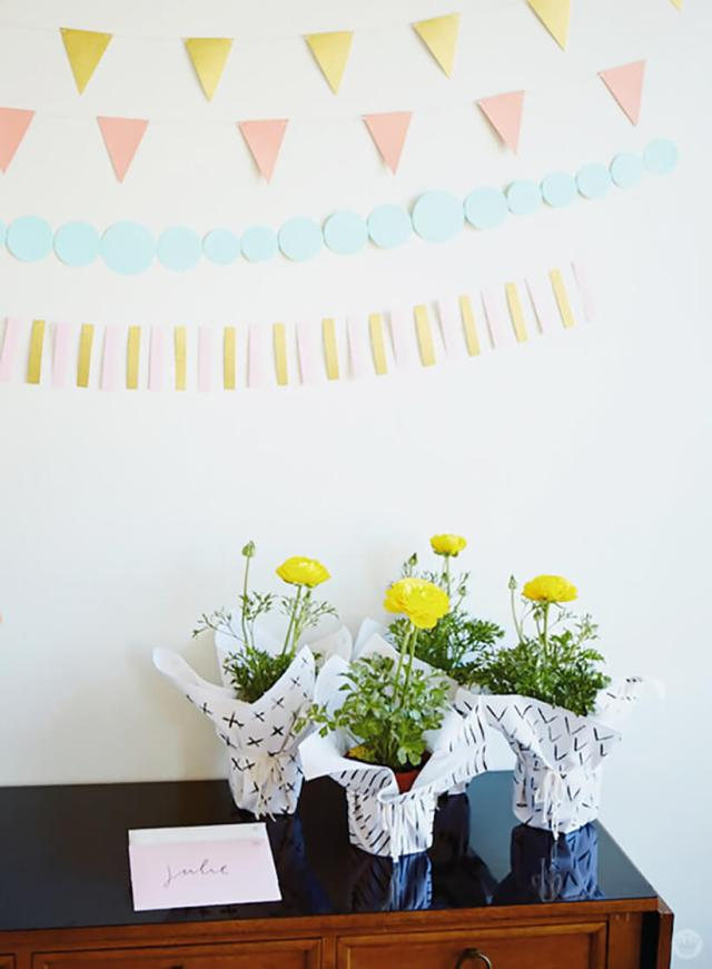 Paper garlands and party favors