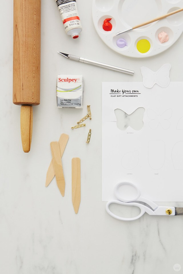 Supplies for the DIY Clay gift attachments | thinkmakeshareblog.com