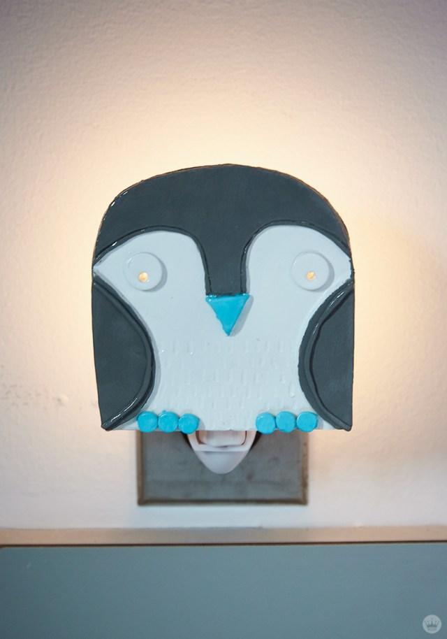 DIY nightlights: Blue and gray owl design
