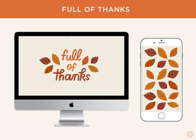 Free November 2018 digital wallpapers: Full of Thanks