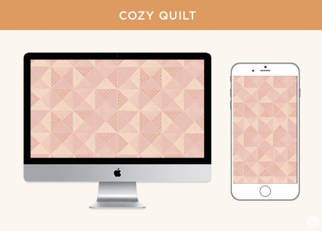 FREE November 2019 digital wallpapers: Geometric Cozy Quilt pattern shown on a monitor and iPhone.