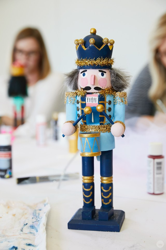 A finished, hand painted wooden nutcracker