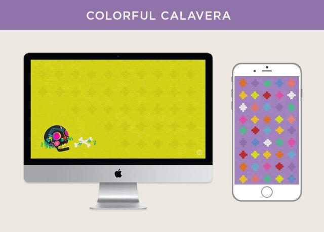 Colorful Calavera free October 2018 digital wallpapers