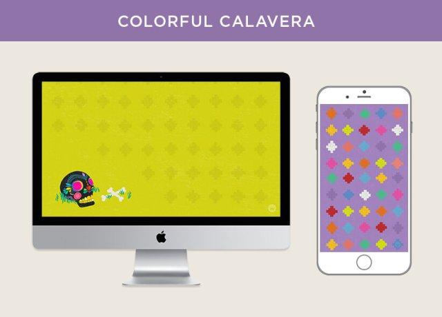Colorful Calavera free October 2018 digital wallpapers