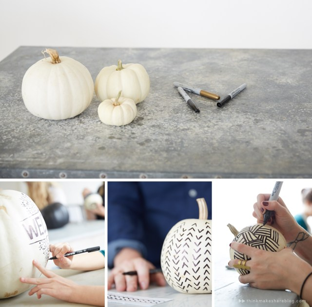 No-carve pumpkin decorating: White pumpkins plus markers are all you need to make easy, elegant black and white Halloween decor.