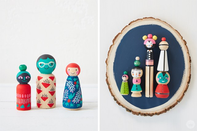 Christmas themed wooden people, Christmas themed painted wooden objects.
