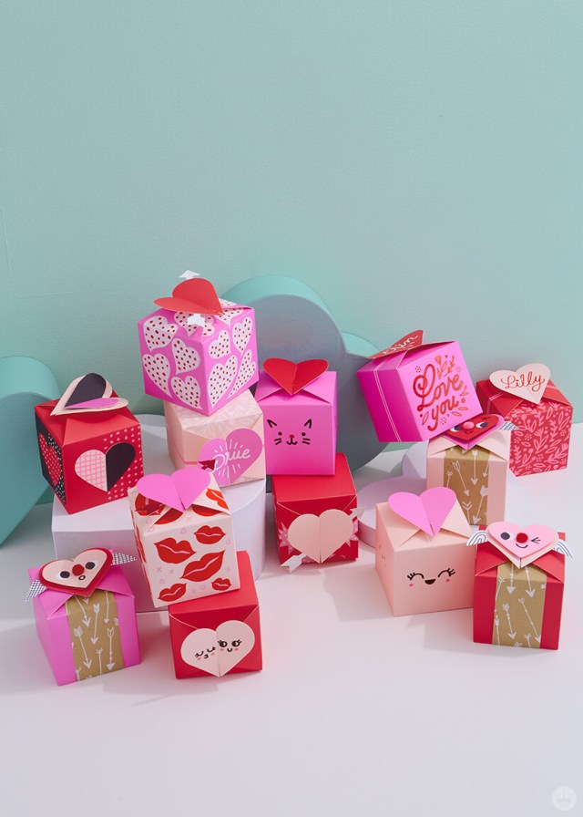 grouping of all the decorated Paper Wonder Valentines Gift Boxes | thinkmakeshareblog.com