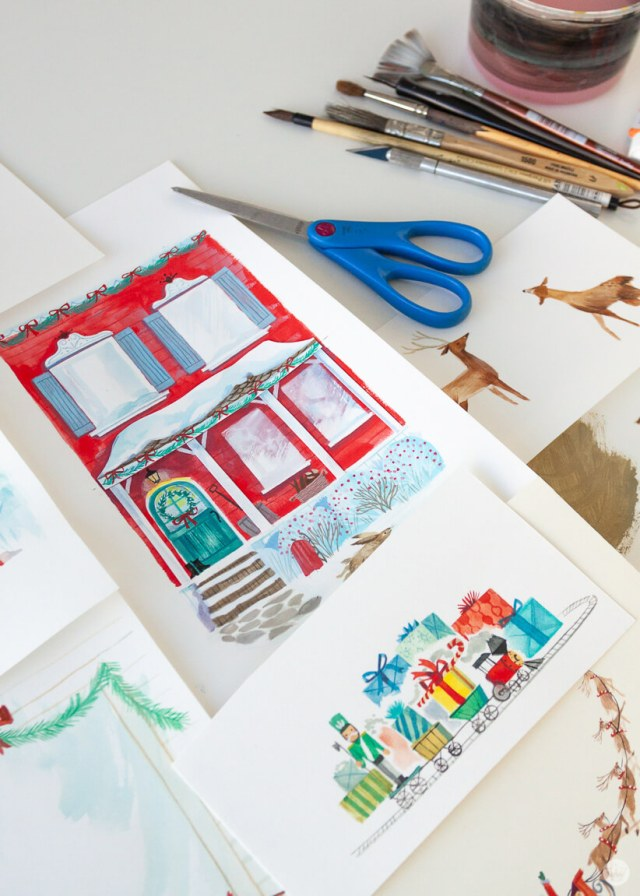 Artist supplies and hand-painted Christmas images | thinkmakeshareblog.com