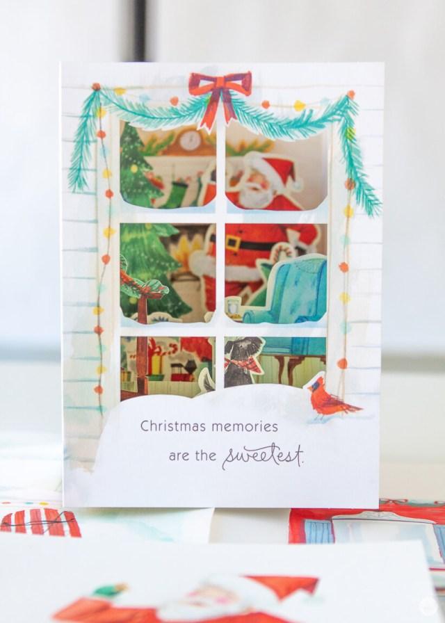 Paper Wonder card featuring Santa eating Christmas cookies   thinkmakeshareblog.com