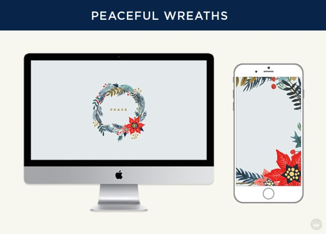 Free downloadable peaceful wreaths digital wallpapers