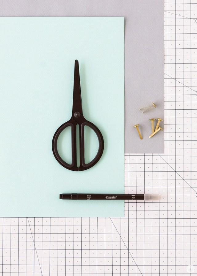 Pen pal starter supplies: Scissors, paper, brads, pen | thinkmakeshareblog.com