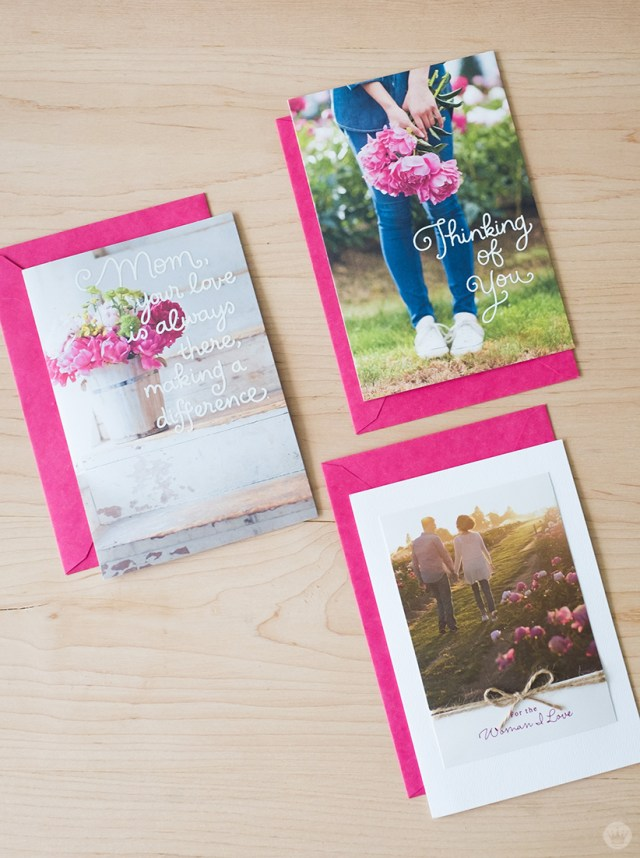 Greeting cards created from a peony farm photo shoot.
