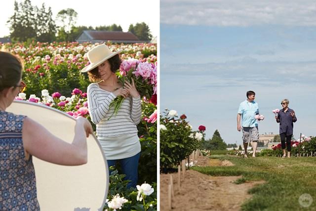 Behind the scenes at a Hallmark photo shoot on a peony farm.