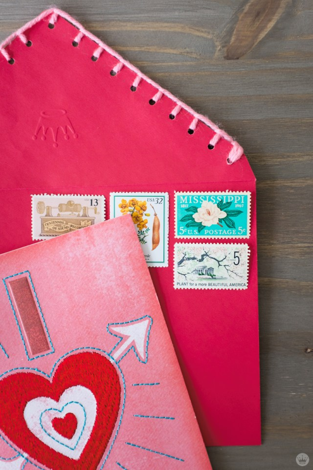 DIY Valentine's Day envelope art: blanket stitch trim