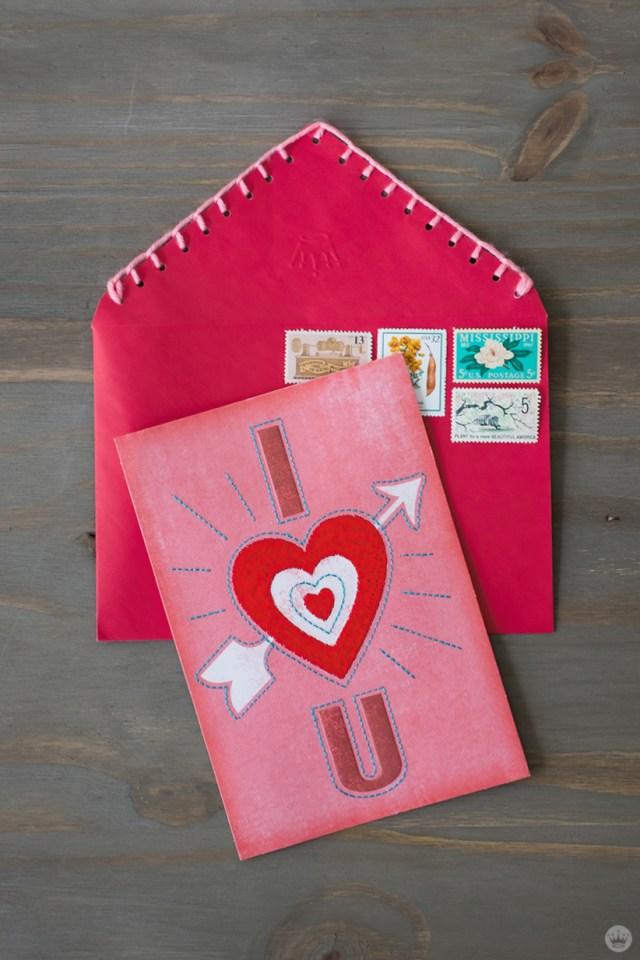 DIY Valentine's Day envelope art: blanket stitch trim