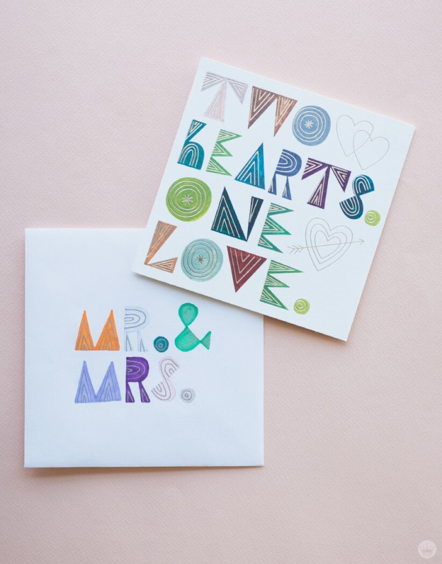 Wedding envelope art and the card that inspired it